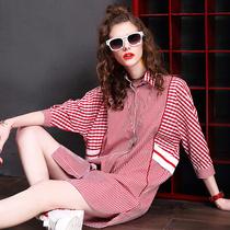 早秋条纹拼接格子连衣裙女欧洲站新款七分袖宽松中长款衬衫裙夏