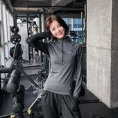 速干衣跑步卫衣瑜伽服罩衫 显瘦连帽健身服女运动上衣长袖 QTS修身