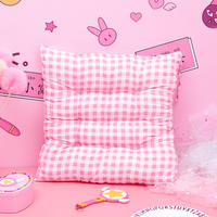 Ins Japanese soft cute girl pink lattice cushion student bedroom office chair pad winter mat