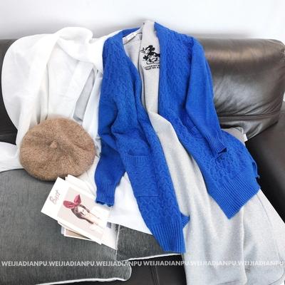 KS6036唯家 提亮肤色的蓝色系!可以贴身穿的柔糯款毛衣开衫外套