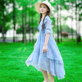 Girls summer dress 2019 new dress in the big boy foreign short-sleeved chiffon floral girl vacation swallowtail skirt