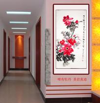 中国名人字画三尺花鸟牡丹国色名人手绘水墨条幅作品客厅定制包邮