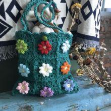 Lovely Japanese Designer Handmade Crochet Thai Fafa Single Shoulder Bag CC Sung Yanlin Color Flower Wool Bag