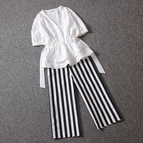 欧洲站阔腿裤套装女夏2018新款收腰短袖上衣搭配七分条纹休闲裤
