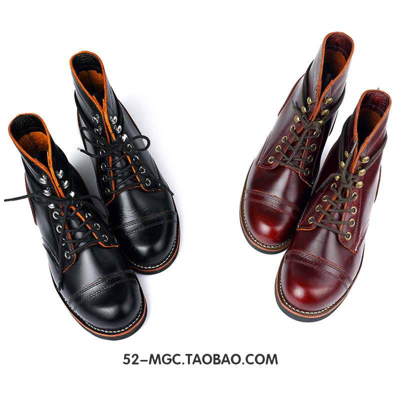 阿美咔叽8111高帮工装鞋固特异手工茶芯牛皮马丁靴情侣男女伞兵靴
