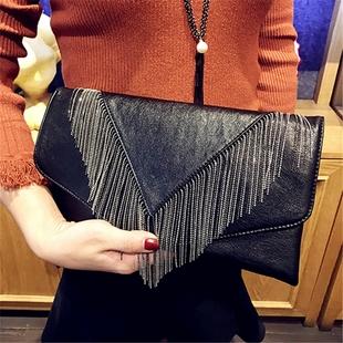 手拿包大容量女2017新款流苏手包时尚信封包潮女手抓包单肩斜挎包