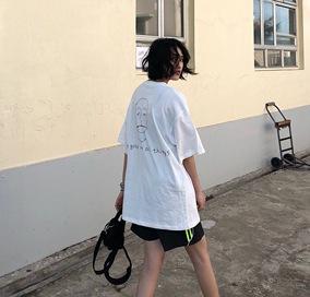 FFEE 一切事物很美好  日系手绘字母人像印花宽松短袖T恤