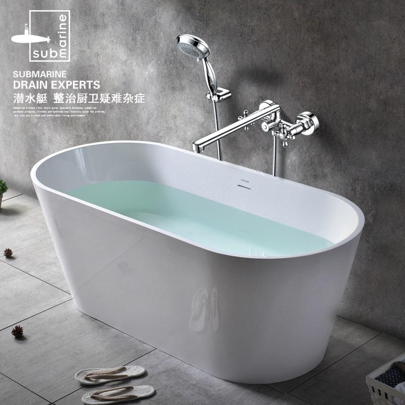 潜水艇全铜冷热双把淋浴混水阀加长入墙式花洒三联浴缸水龙头套装