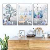 Nordic living room decoration painting new Chinese triptych sofa background wall painting American bedroom rectangular mural clock