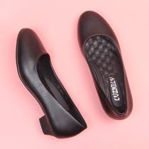 四季女职业黑白色浅口工作高跟小皮鞋子鞋粗跟圆头白领