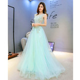 Tiffany Blue 2019 Autumn New Bridesmaid Dress Long Banquet Annual Meeting Host Art Test Bridal Evening Dress