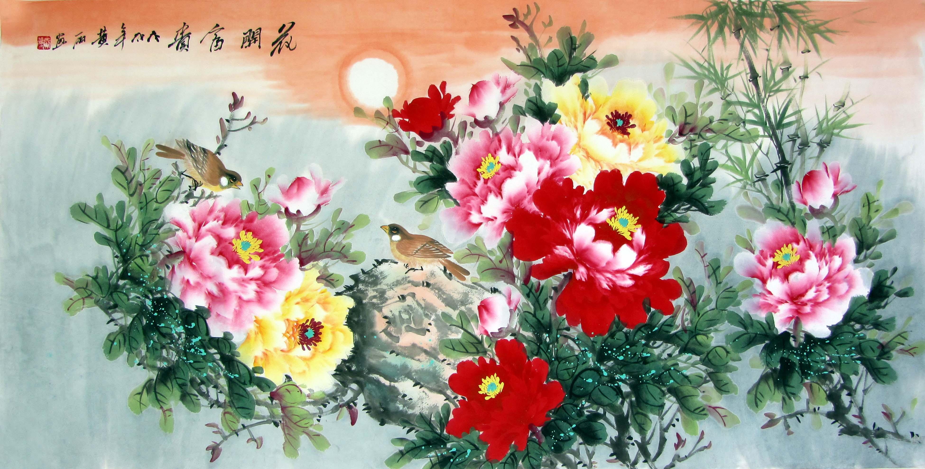 洛阳手绘牡丹画