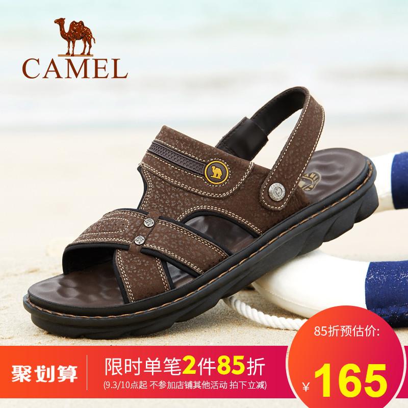 骆驼男鞋 夏季新品透气牛皮凉鞋男舒适耐磨真皮休闲凉拖皮鞋