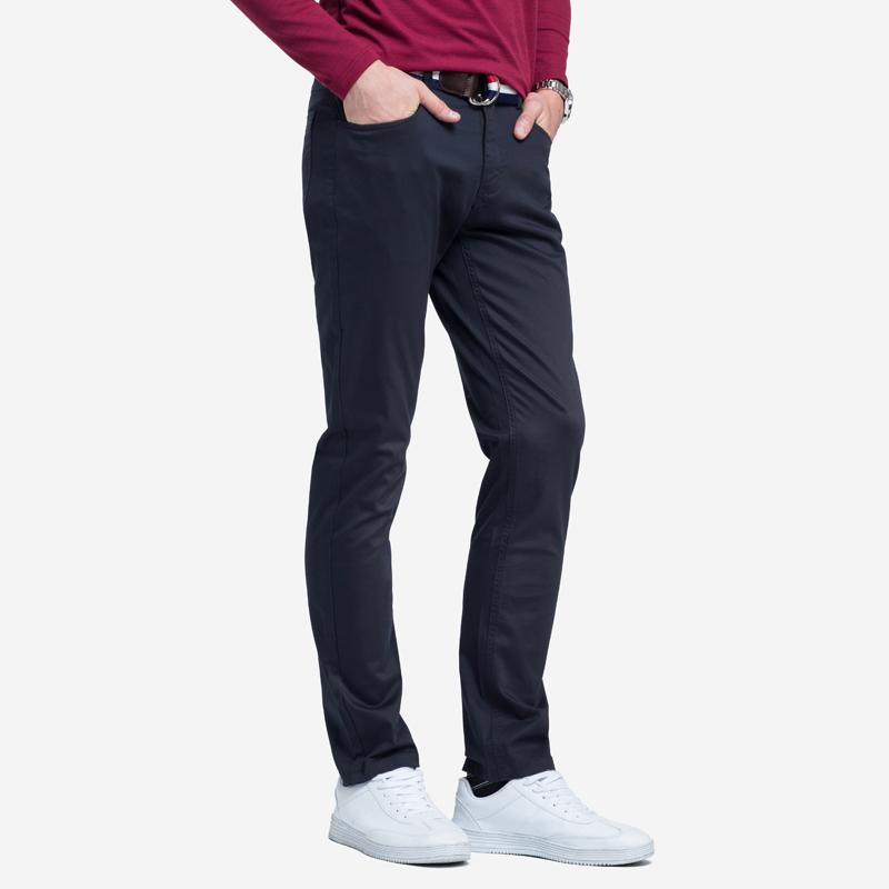 骆驼男装 春秋新款青年时尚潮流纯色弹力棉直筒中腰长裤男休闲裤