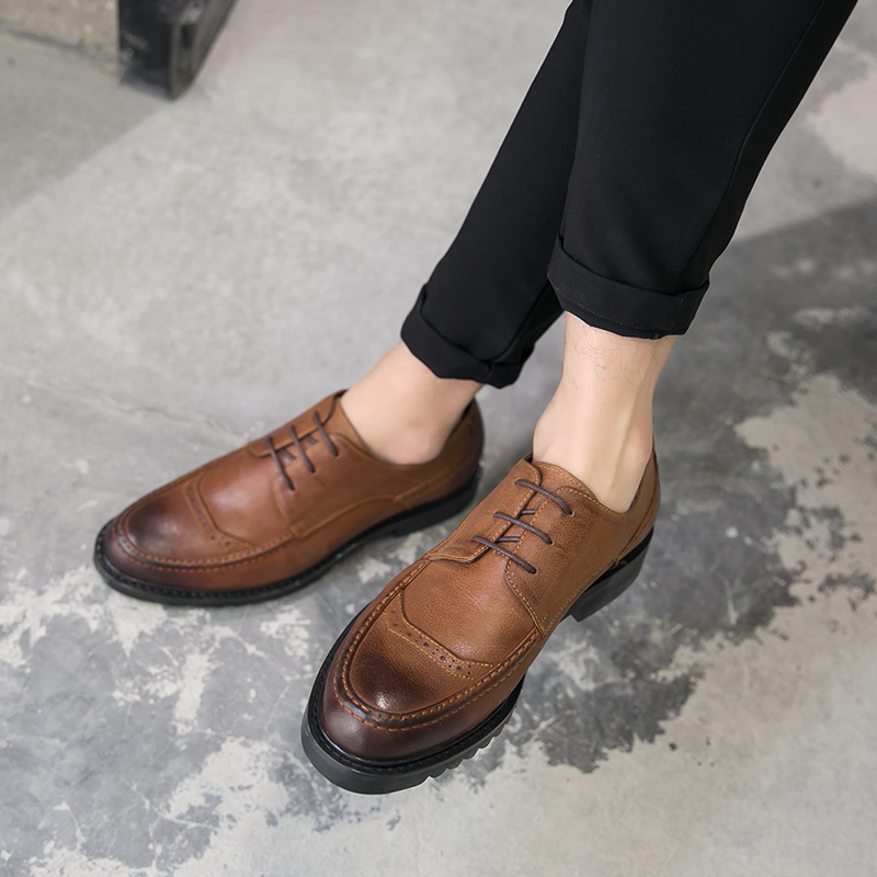 肖奈宋仲基翟至味 潮鞋 子秋冬新款 真皮鞋 系带男鞋 中国有嘻哈同款