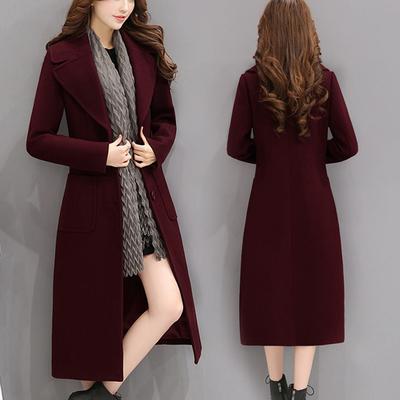2017毛呢外套女长袖韩版长款收腰显瘦纯色气质加厚秋冬季呢子大衣