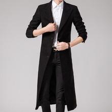 韩版 风衣外套帅气超长过膝修身 英伦男士 加厚 冬季毛呢长款 呢子大衣