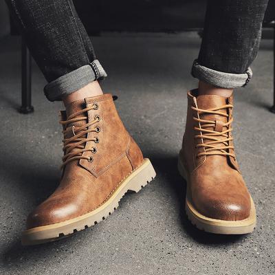 秋冬复古马丁靴韩版潮流英伦休闲男士高帮工装鞋潮鞋大头皮鞋短靴