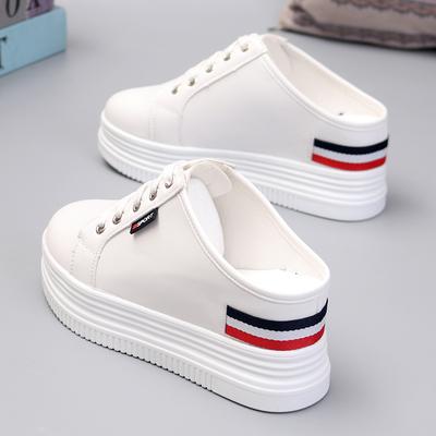 2019春夏小白鞋女厚底内增高8cm无后跟懒人鞋一脚蹬半拖鞋试衣鞋