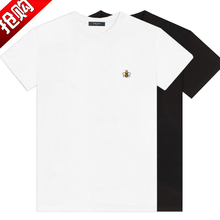 Men's Short Sleeve T-shirt for Men with Luxury, Simple and Delicate Bee Embroidery, Mercerized Long-staple Cotton