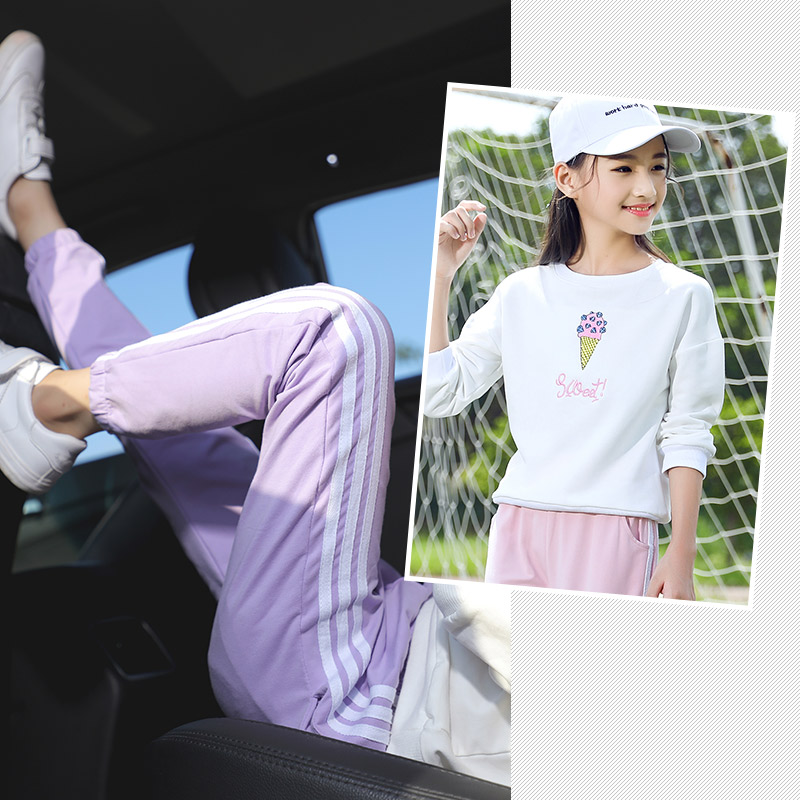 洋气女童春装2019新款时髦套装中大童12岁15儿童运动两件套女孩潮