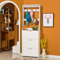 新款超薄翻斗烤漆鞋柜带挂衣架简易组装门厅简约现代烤漆鞋厨17cm