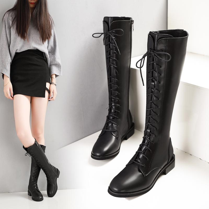秋冬真皮高筒靴长靴平跟骑士女靴2019新款韩版百搭平底机车靴马靴