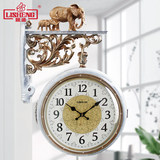 Lisheng European double-sided wall clock silent living room personality wall watch creative clock field modern minimalist home watch