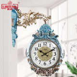 Lisheng European double-sided wall clock living room atmosphere silent creative quartz watch large household watch decorative clock