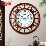 Lisheng Chinese solid wood wall clock living room silent atmosphere clock creative decorative wall watch bedroom art retro clock