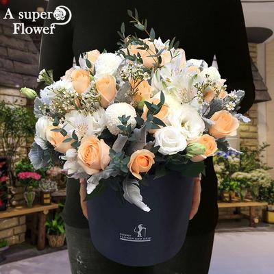 杭州鲜花速递同城花店玫瑰花绣球表白生日送花女友气球抱抱桶礼盒