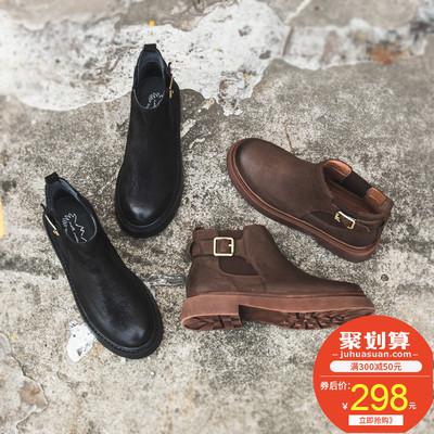 切尔西靴女厚底皮带扣春秋单靴真皮个性设计短靴子复古风马丁靴女