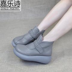 靴子女秋冬新款坡跟厚底牛皮短筒靴松糕防水台平底休闲软底妈妈鞋