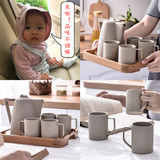 Ceramic cup water cup set living room cup with Japanese tea set simple heat-resistant cold water bottle household cup creative tea cup