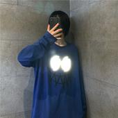 T恤女 韩国ins复古暗黑丧系创意反光印花上衣秋季bf原宿风宽松长袖图片