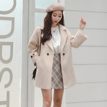 Wool jacket girl student short style thick autumn and winter Niko short stature small fresh Chinese style literary and artistic cloth overcoat