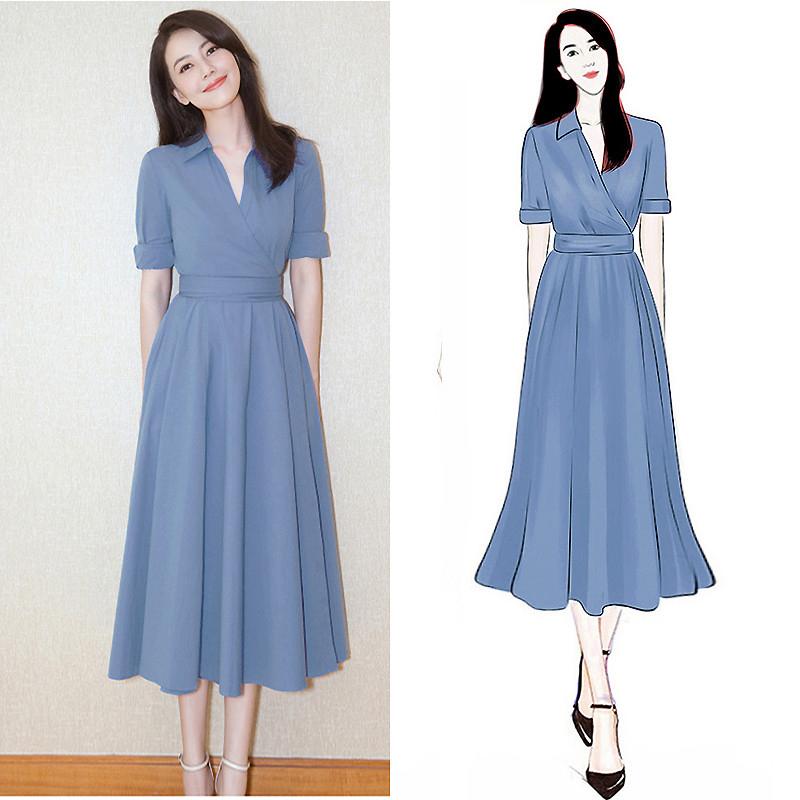 大码女装夏装2019新款遮肚法国小众洋气连衣裙微胖mm很仙的显瘦裙