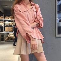 chic早秋衬衫2018新款chic韩风宽袖显瘦百搭长袖衬衣长袖上衣女
