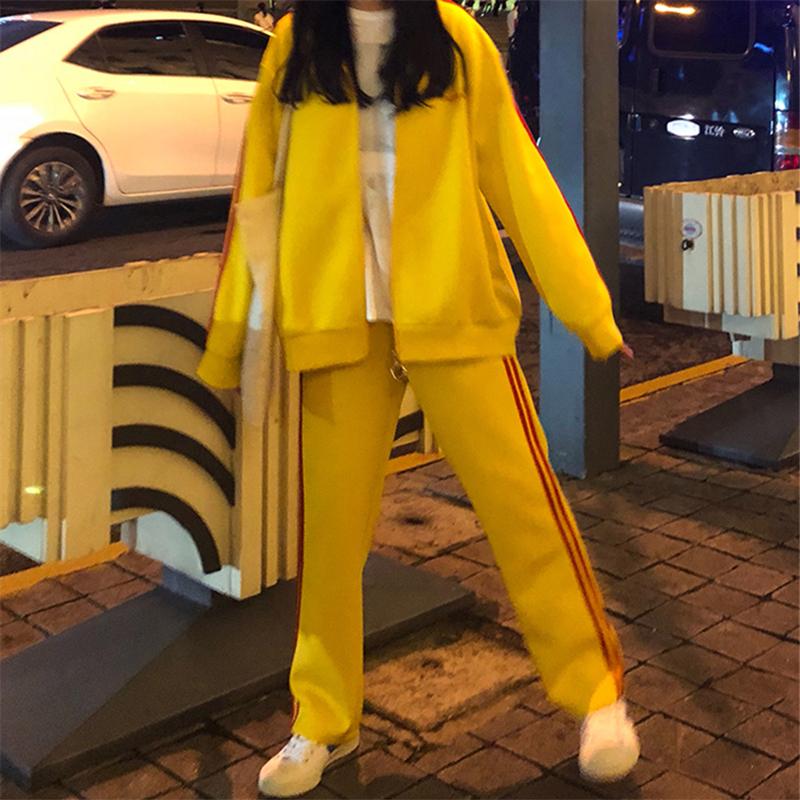 秋装2018新款休闲运动套装女长袖外套+高腰九分直筒裤子两件套潮