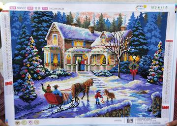 纯手工贴好的钻石画成品90632雪景圣诞节风景卧室客厅挂画满钻