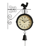 Qi Qiwei designer recommended double-sided clock Nordic living room simple creative decorative wall clock retro two-sided clock