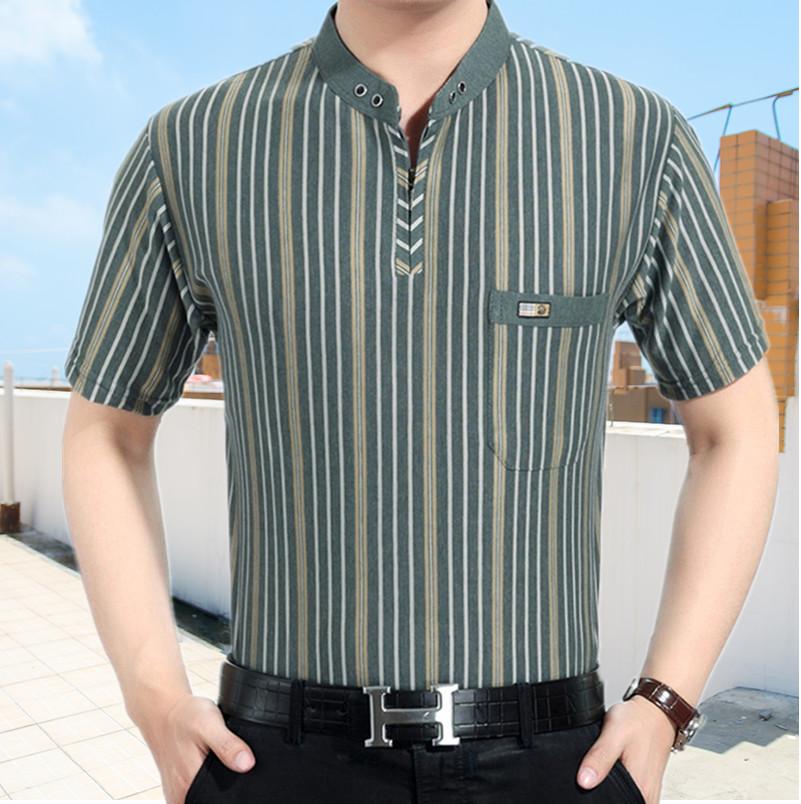 爸爸短袖T恤衫夏季薄款中老年男装加大码体恤 中年立领冰丝棉汗衫