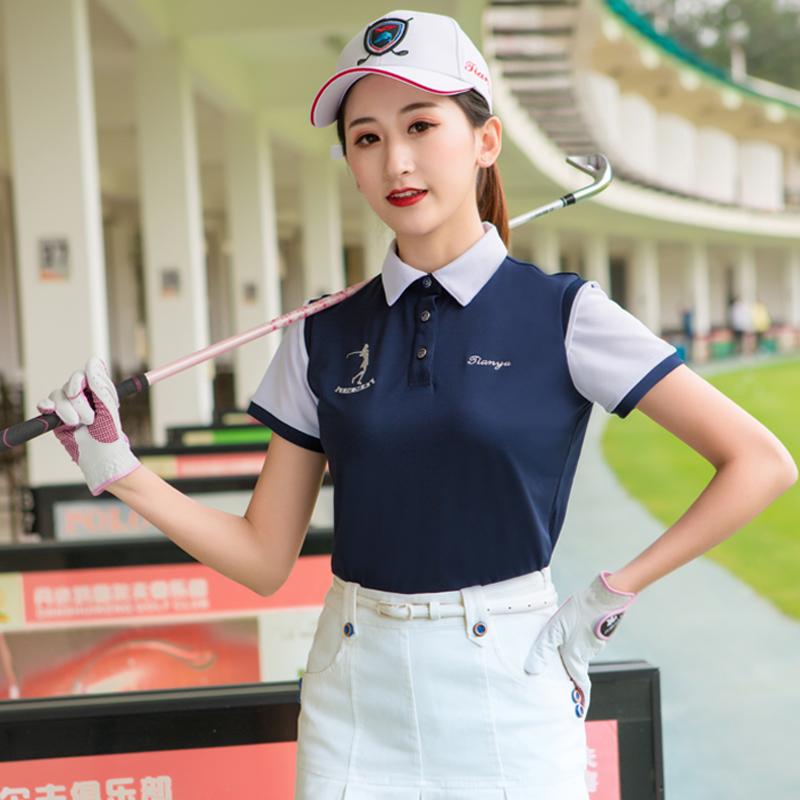 春季新品高尔夫服装短袖t恤女 透气速干运动球衣韩版立领私人定制