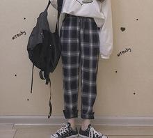 女秋冬 小脚裤 @日系 磨毛感百搭休闲基础学生复古显瘦高腰格子长裤图片