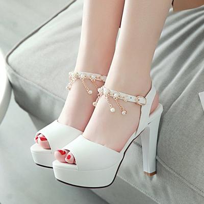 2019新款小清新甜美珍珠鱼嘴高跟凉鞋女百搭粗跟女鞋白色夏季鞋子