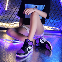 Summer aj1 women's shoes Cherry Wood Flower Road Chicago Board Shoes Joint name Air Force One Joe 1 Black Red Toe High Band Leisure