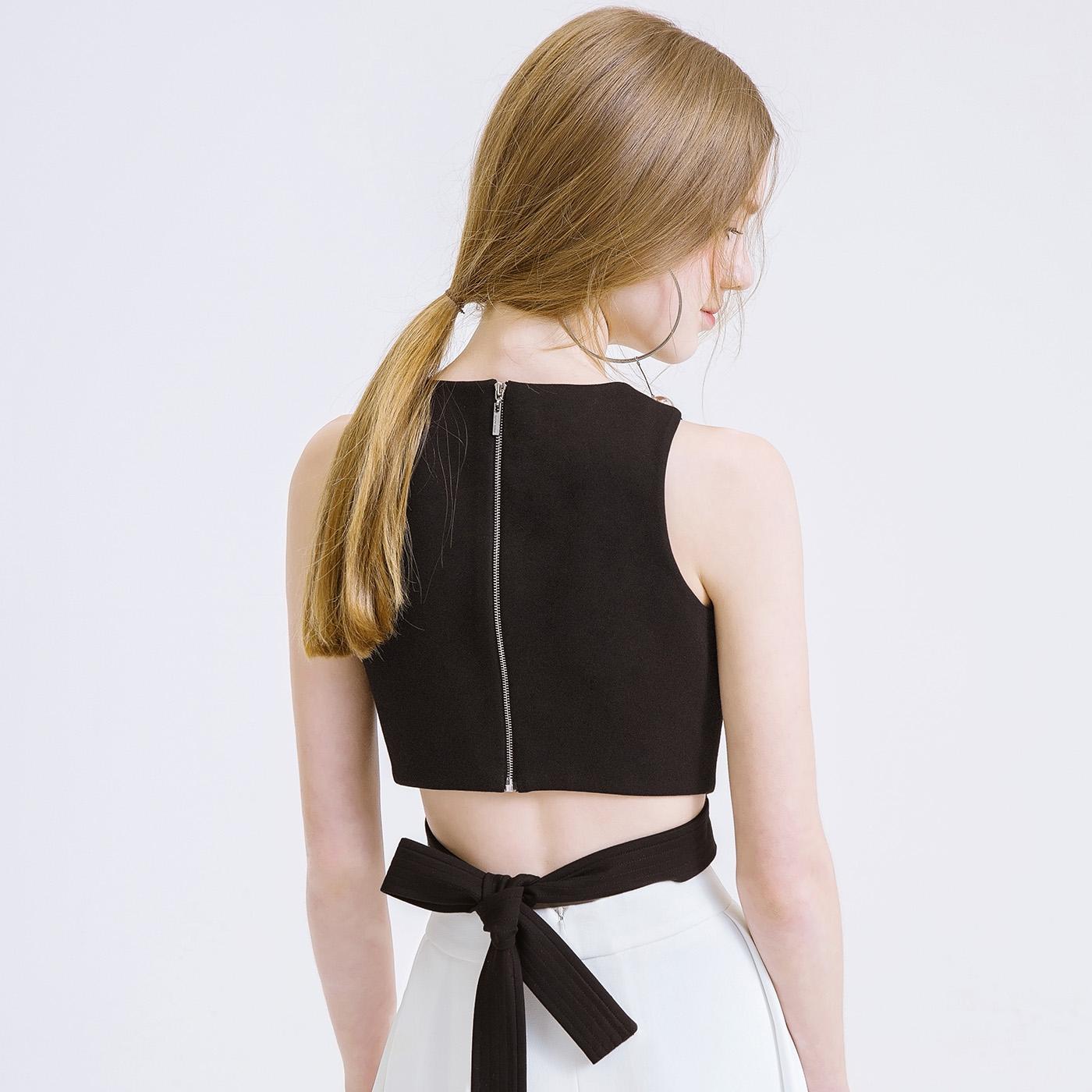 糖力夏装新款欧美女装圆领黑色无袖露肩短款上衣简约上装