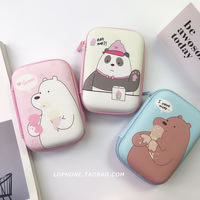 Korea cute cartoon headset storage bag data cable charger storage box Bluetooth headset coin purse female