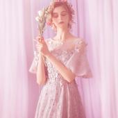 天使嫁衣 灰色晚宴年会婚纱礼服伴娘服7016t 花朵喇叭袖 摩登时尚
