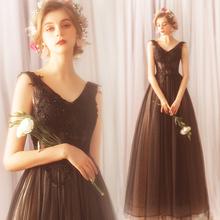 高雅显瘦黑色生日派对晚宴年会主持人婚纱礼服批发 天使嫁衣